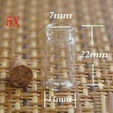 5x Small Vial Stash Flacon Glass bottle with Cork lid  scientific sample vessel