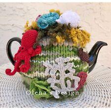 Crochet tea cozy cosy cover nautical underwater octopus turtle marine kitchen