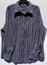 "Mondo Di Marco Long Sleeve 17 1/2"" Button Shirt Black Purple Gray 80's 2-Ply"