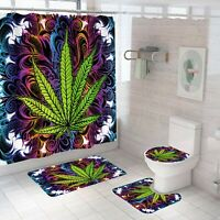 Leaf Shower Curtain Set Bathroom Rug Thick Bath Mat Non-Slip Toilet Lid Cover