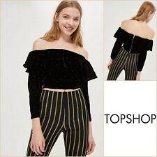 d1ff7ad424a50e Topshop Black Bardot Top Size 10 - Pinstud Velvet - BNWT - RRP £36 -