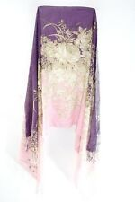 GORGEOUS PINK/PURPLE ULTRA SOFT SCARF BROWN FLORAL PATTERN & FRINGE (MS30)