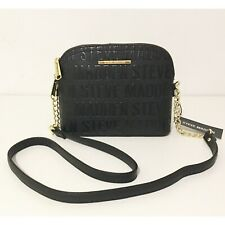 Steve Madden Women's BMaggie Logo Black  Gold Chain Crossbody Bag Handbag New