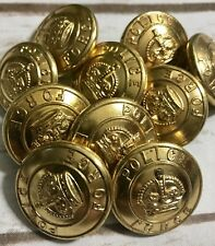 10 Vintage Gold Tone Police Force Uniform Button Department Scully LTD Montreal