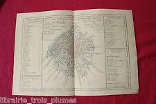 ✒ CARTE 1764 Guide des voyageurs - Plan de PARIS et environs