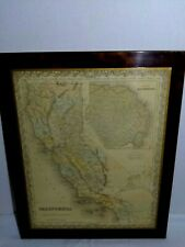 Antique California Map. By J H COLTON Railroads-Paths on Laquered Perma Plaque