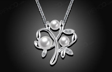 Elegant 925 Sterling Silver PLated SP Fora Pearl CZ Pendant Necklace N-A755