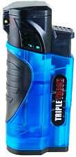 Triple Jet Torch Lighter Butane Refillable and Adjustable Flame w Cigar Puncher