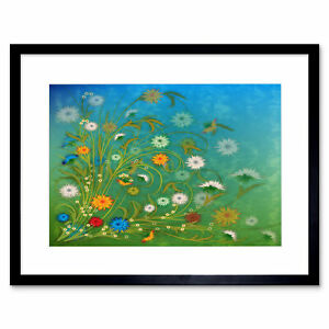 Painting Illustration Abstract Floral Pattern Design Framed Print 12x16 Inch