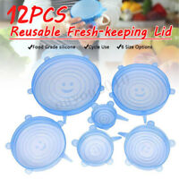 12Pcs Food Cover Fresh Keeping Sealing Stretch Silicone Lid Kitchen Storage Wrap