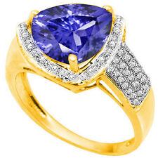 GENUINE DIAMOND & LAB TANZANITE PLATINUM OVER 0.925 STERLING SILVER RING