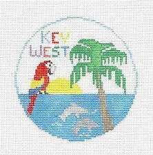 *NEW*  KEY WEST, FLORIDA ~ HP Needlepoint Canvas Ornament by Kathy Schenkel RD.