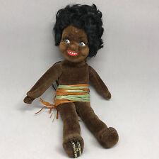 Norah Wellings Doll Island Girl 8in Brown Velvet 1930s Hand Painted Face Label
