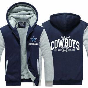 Dallas Cowboys Hoodie Fleece zip up Coat Thicken warm Jacket winter Sweatshirt