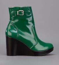 ROBERT CLERGERIE SHOES CHALIA PLATFORM WEDGE BOOT GREEN LEATHER BOOTIES $695 7.5