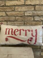 "Pottery Barn Merry Jingle Christmas Lumbar Pillow Jute Size 12""x24""  New"