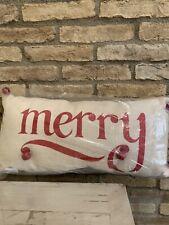 Pottery Barn Merry Jingle Christmas Throw Pillow Lumbar 12x24 New Holiday Decor