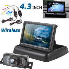 "4.3"" 2CH Foldable Car Rear View Monitor+Waterproof 7 IR Wireless Backup Camera"