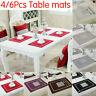 4/6Pcs Velvet Diamante Placemats Set Dining Table Place Mats Rectangle 40x30cm