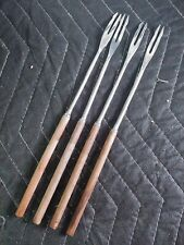 Vtg. Stainless Steel Fondue Sticks, Wood Handle Mid Century Modern Japan