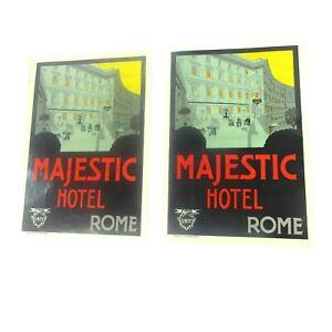 2 Vintage NOS  Art Deco Majestic Hotel Rome Vintage Luggage Labels Uniti