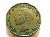 1943 British Three (3) Pence Coin