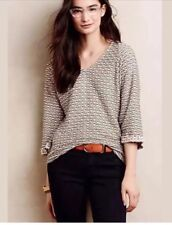 Anthropologie Postmark Textured Avana Knit Top Blouse Size Small Brown White