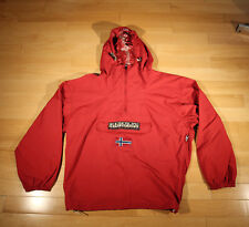 Napapijri Geographic Red Rain Hooded Jacket Windbreaker Anorak Size L