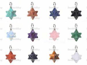 Carved Gemstone Crystal Merkaba Star Energy Healing Sacred Geometry Pendant
