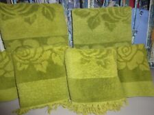 VINTAGE SEARS ROEBUCK ROYAL TOUCH GREEN FLORAL (6PC) SET BATH, HAND TOWELS, WASH