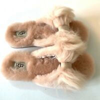 Women's UGG Slippers Size UK 7 8 Pink Fluffy Bow Mirabelle