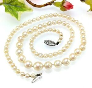 Vintage Real Pearl Graduated Necklace with 10 CT White Gold Clasp