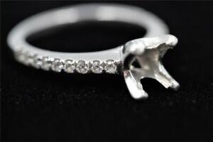 STUNNING AUTHENTIC PLATINUM 18 DIAMONDS ENGAGEMENT SEMI-MOUNT FOR 3/4CT TO 1CT