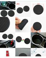 New 2Pcs Car Auto Water Cup Pad Slot Non-Slip Carbon Fiber Mat Accessories Black