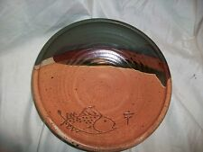 Handcrafted Studio Stoneware Asian Fish Bowl Signed Pottery Earth Tones