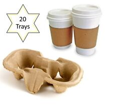 20 x 2 Cup Takeaway Cardboard Carry Tray Holder Tea Coffee Party Event Catering