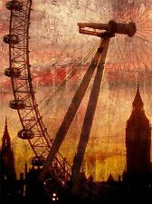 ABSTRACT PAINTING LONDON EYE BIG BEN LONDON POSTER ART PRINT HOME PICTURE BB230A