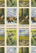 Save Wildlife Habitats Stamp Sheet, Scott #1921-24, MNH