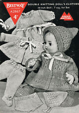 """VINTAGE KNITTING PATTERN COPY - FITS 16"""" DOLLS - KNITTED IN  8ply - 1940'S"""