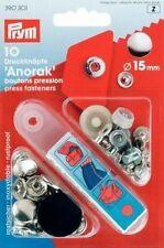 PRYM 10 nähfrei Druckknöpfe Anorak 15mm silberfarbig 390301