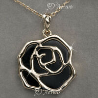 18k rose gold double side black flower pendant necklace fashion jewelry aeiwo