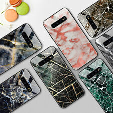Tempered Glass Case for Samsung Galaxy S10 Protective Marble TPU Back Cover Skin