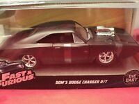 Jada Dom's 1970 Dodge Charger R/T NIB 1/24 scale fast & Furious primer black HTF