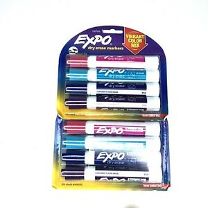 Expo Vibrant Color Dry Eraser Markers Chisel Tip 2 Packs 8 Markers Total