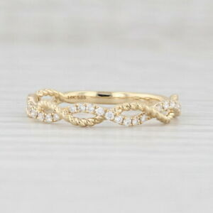 New Diamond Woven Stackable Ring 14k Yellow Gold Size 6.5 Wedding Band
