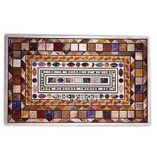 8'x3' Beautiful Marble Restaurant Table Multi Mosaic Gemstones Inlay Home Decor