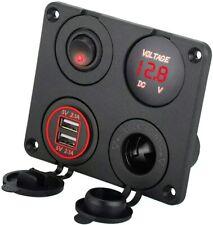 12V Car Cigarette Lighter Socket + Dual Usb Port Charger + Voltmeter Panel 4.2A