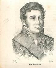Jean-Guillaume Hyde de Neuville 1776-1857 ministre de la Marine GRAVURE 1883