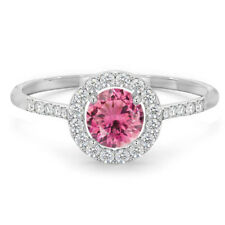 Classic Natural Pink Tourmaline Rubellite and Diamond Halo 14k White Gold Ring