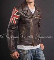 Men's Biker Vintage Style Cafe Racer Biker Leather Jacket with Union Jack